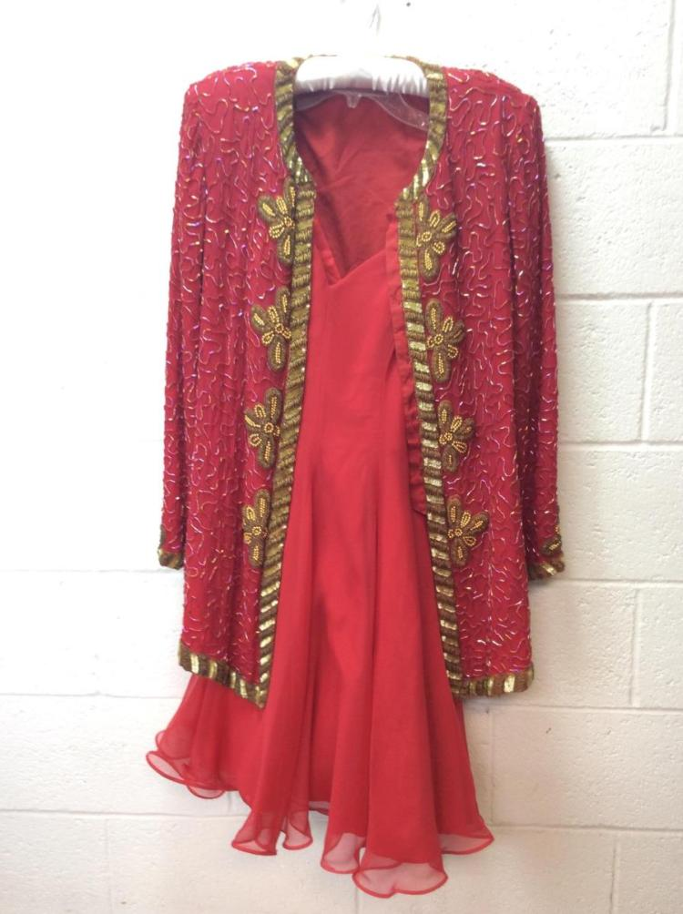 HW Collection Red Evening Dress w/ Beaded Jacket