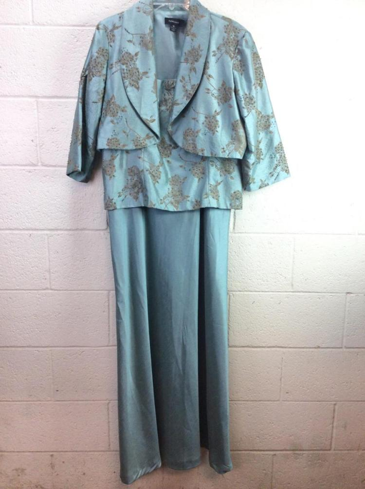 R&M Richards Teal Gown w/ Matching Jacket