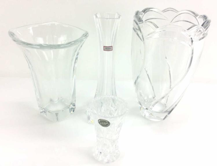 4Pc. Clear Crystal Vases