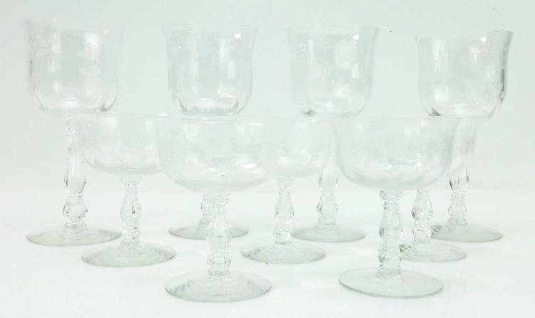9pc. Etched Glass Stemware