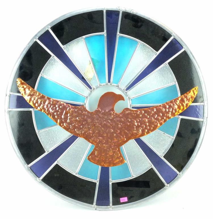 Harley Davidson Leaded Stained Glass Window Panel