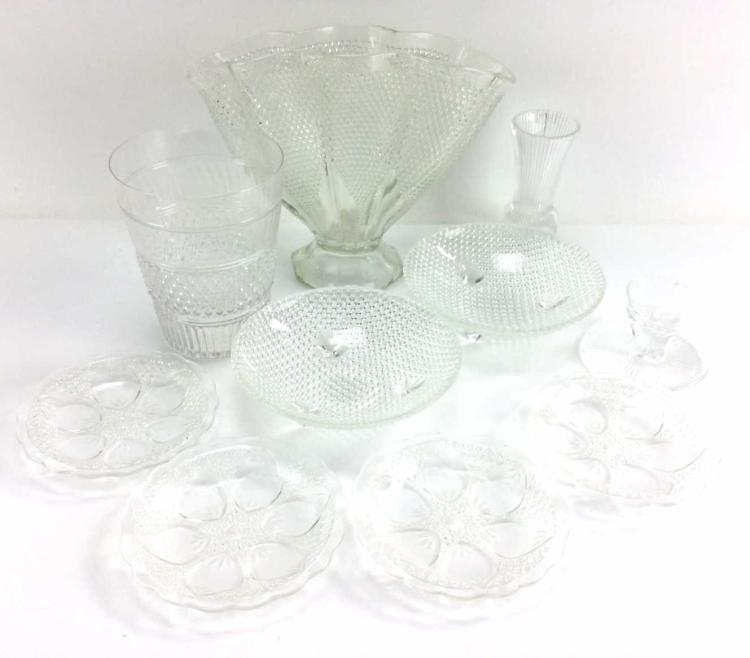 10Pc. Clear Pressed Glass Decor