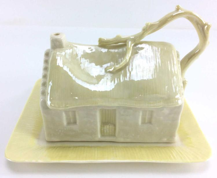 Belleek Cabin Cover Butter Dish