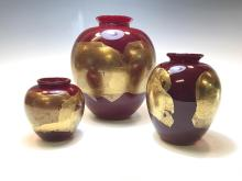 20th/21st century Donald Carlson Red art glass wit