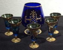 6 Pc. Gold Rimmed Cordials & Brandy Glasses