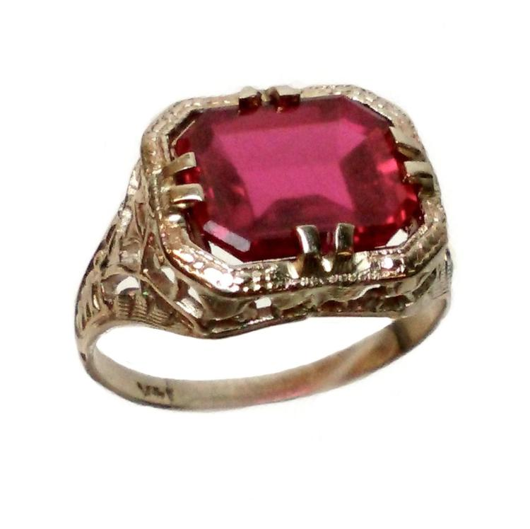 14k white gold ruby deco ring