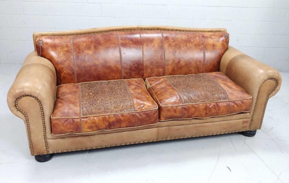 Southwestern Nailhead Accent Leather Custom Sofa