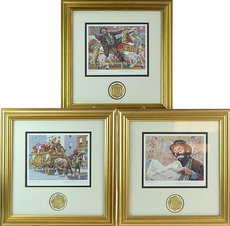 3 Pc. Emmett Kelly (1898-1979) Clown Print Lot