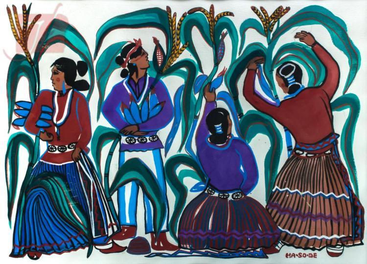 Narciso Abeyta (1918-1998) Native American Mixed-Media