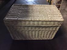 White Wicker Basket with Lid