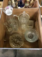 Clear Glass Pitcher, Candy Dish, Etc. Box Lot