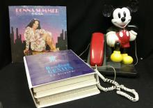 20th C. Mickey Mouse Phone, Donna Summers Album