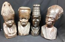 Four Wooden Busts