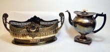 Silverplate Center Bowl & Antique Tea Pot