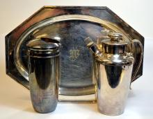 Silverplate Tray & 2 Cocktail Shakers