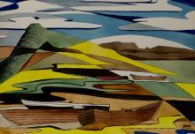 Harold Laynor (1922-1991) Abstract Boats