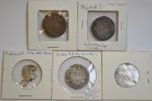 5Pc Old & Ancient Coins, Ferdinand II, Elizabeth 1