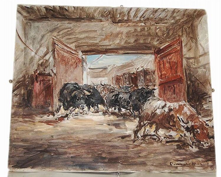 GONZALEZ MARCOS, Angel (1900-1977, Spanish) Bulls Breeding Ranch