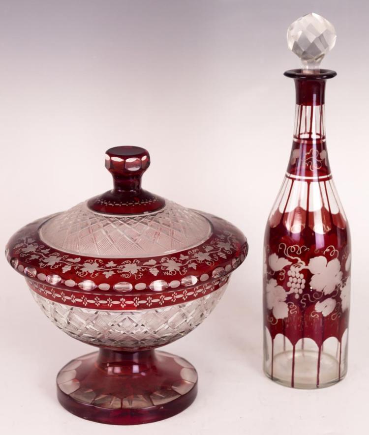 Bohemian Glass Decanter Dish Set