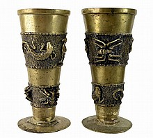 PAIR of African Bronze Chalices w/ Relief