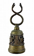 African Bronze Bell with Double Snake Handle