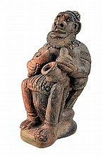 African Pottery Figure of a Chieftain