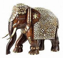 Bone Inlay Solid Mahogany Elephant from India