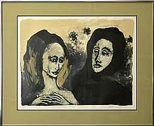 Hilda Castellon (20th Cen.) Litho, Two Women