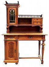 Art Nouveau Oak Desk with Stained Glass Door