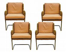 Set of 4 Wicker & Chrome Chairs, Harvey Probber
