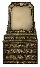 #1  Abalone, MOP & Black Lacquer Dresser w/ Mirror