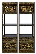 Pair of Abalone, MOP & Black Lacquer Inlay Shelves