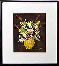 Signed Batik Textile Art, Painted Still Life