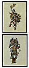 PAIR of Laminated Kachina Prints, by Homer Boelter