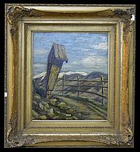 C P Bergmann Oil Painting, German Wayside Shrine