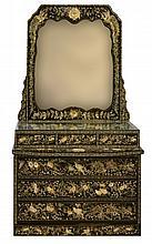 #2  Abalone, MOP & Black Lacquer Dresser w/ Mirror