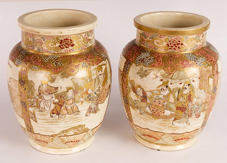 Pair of Japanese Satsuma Vases