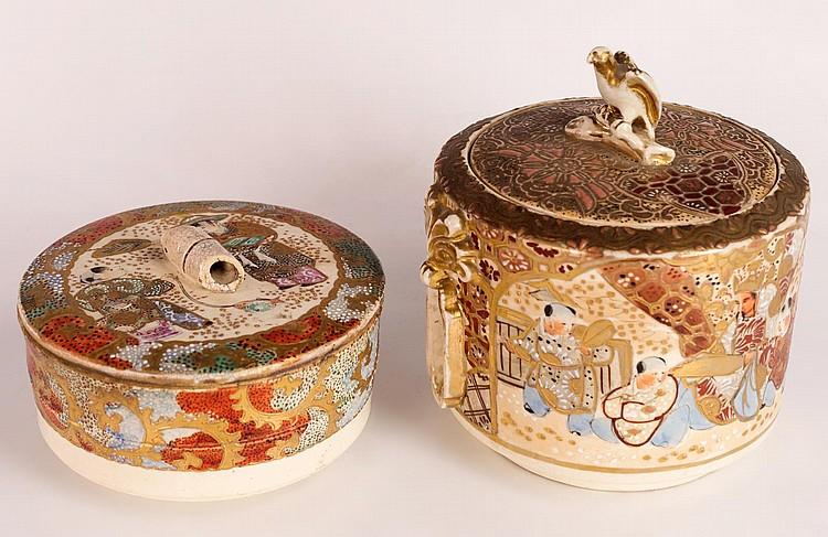 Two Japanese Meiji Satsuma Lidded Jars