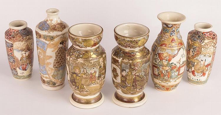 Six Japanese Satsuma Vases
