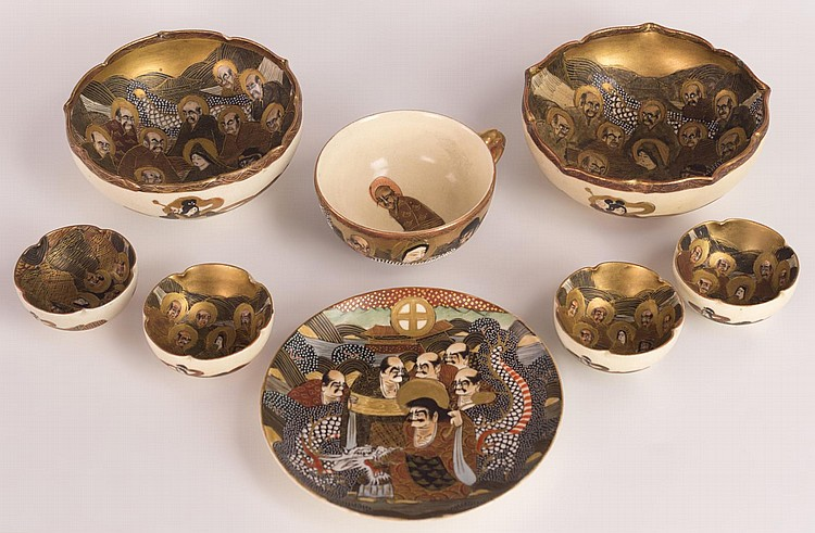 Seven Japanese Satsuma Bowls and One Cup/Saucer