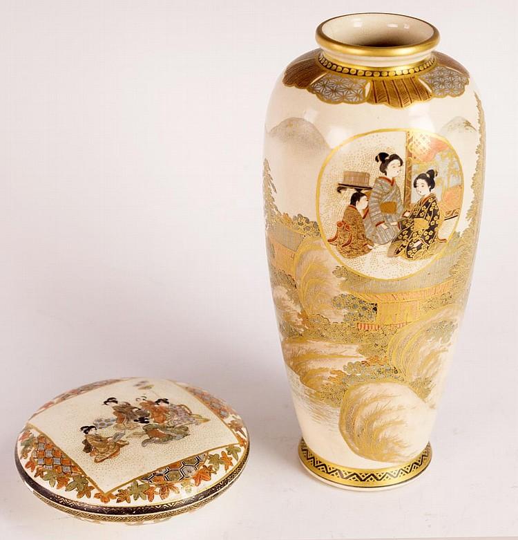 Signed Japanese Meiji Satsuma Vase & Cosmetic Box