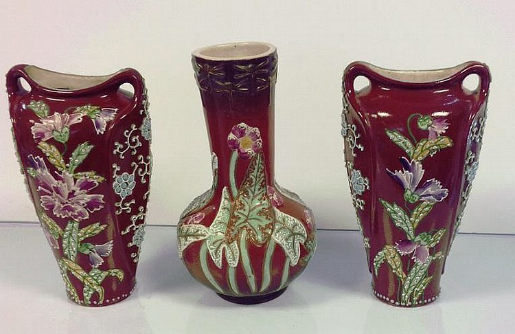 Three Japanese Kyoto Satsuma Vases
