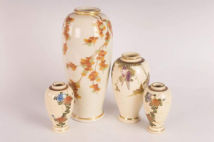 Four Japanese Marked Satsuma Vases