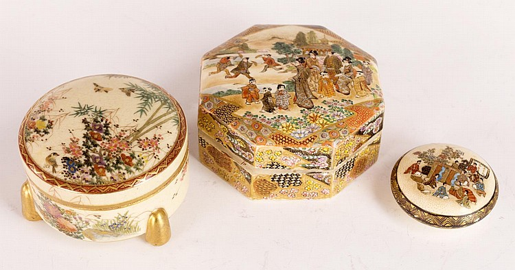 Three Japanese Satsuma Lidded Boxes