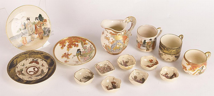 Three Satsuma Cup & Saucers, Salt Dishes, Creamer