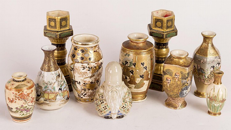 Group of Miniature Satsuma & Kutani Vases