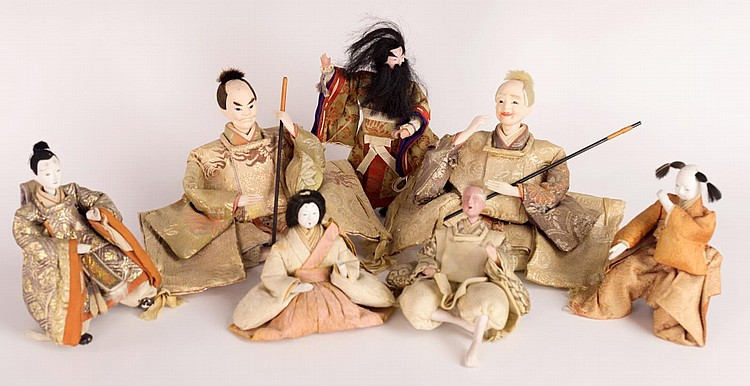 Group of Japanese Ningyo Dolls