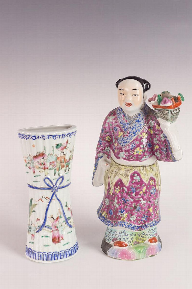 Chinese Famille Rose Porcelain Figure & Wall Vase