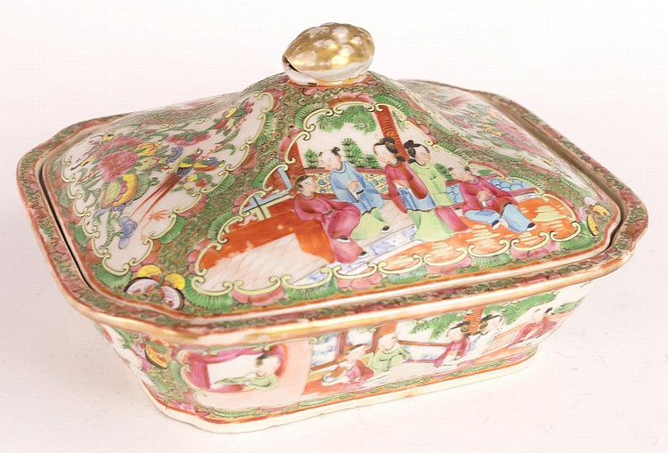 Chinese Qing Dynasty Rose Medallion Vegetable Dish