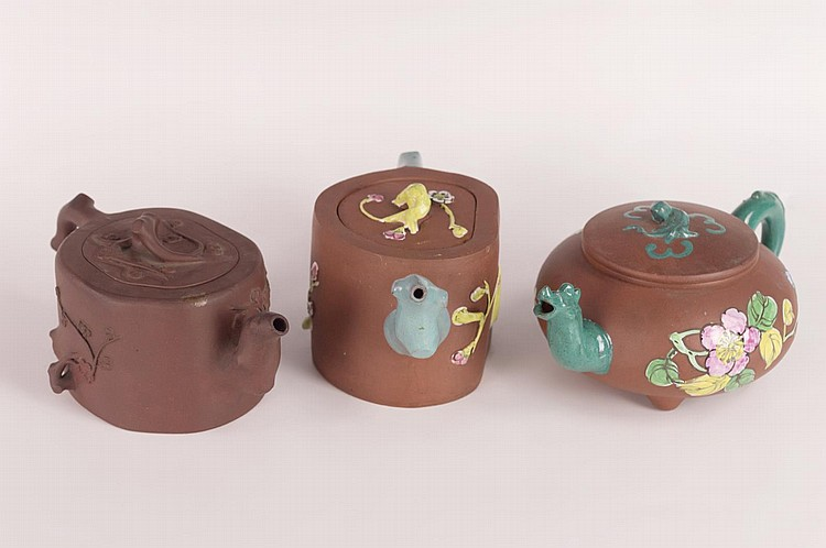 Group of 3 Vintage Chinese Yixing Pottery Teapots